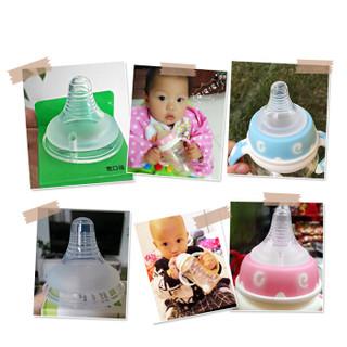 爱因美 2只装婴儿宽口径奶瓶软奶嘴新生宝宝硅胶奶嘴 9004圆孔L码