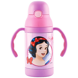 迪士尼儿童水杯 宝宝吸管杯 婴儿保温学饮杯背带保温壶喝水训练杯子(两用)300ML 公主
