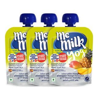 美妙可(me milk)婴儿辅食 菠萝芒果味儿童酸奶酸酸乳90g*18袋 进口宝宝酸奶零食 12个月以上