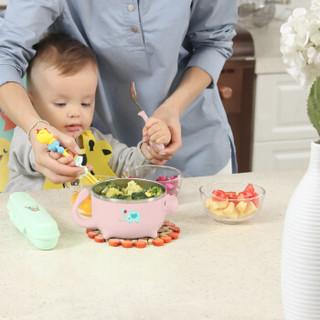 天美优客(TEENUNIX)儿童餐具宝宝辅食碗注水保温碗新生儿婴幼儿不锈钢防摔饭盒防滑吸盘碗勺子五件套装粉