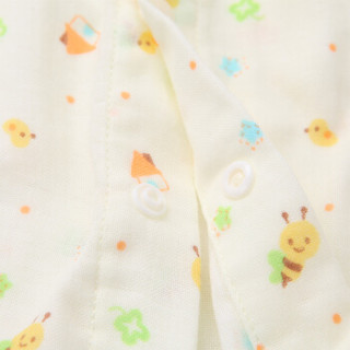 PurCotton 全棉时代 800-005086 婴幼儿纱布哈衣 73/48(建议6-12个月) 黄底蜜蜂