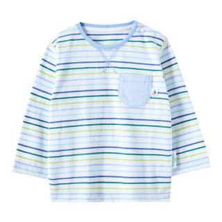 PurCotton 全棉时代 2000241301 幼儿男款针织色织长袖T恤 90/52(建议2-3岁) 蓝绿彩条