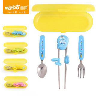 蔓葆 婴儿辅食训练筷子叉勺套装组合 (蓝色)
