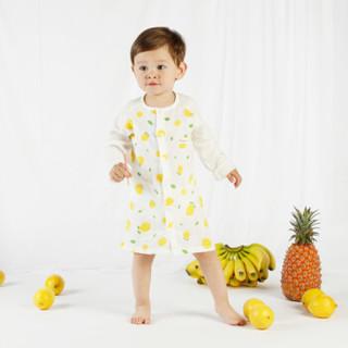贝吻 B3056 宝宝纱布长袖睡袍 (柠檬、80码、1条装)