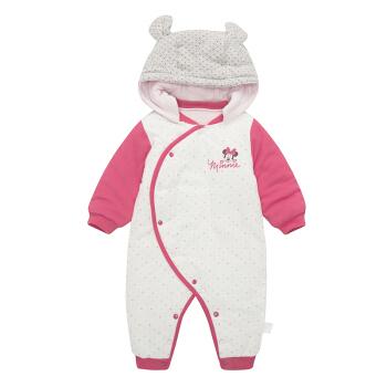 DisneyBaby 迪士尼宝宝 宝宝长袖前开闭裆连帽哈衣 (粉色、66、1条装)