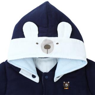 PurCotton 全棉时代 婴儿纱布夹涤棉连体服 (藏青、80/48(建议12-18个月) 、1条装)