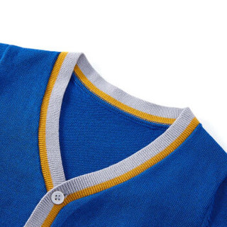 PurCotton 全棉时代 幼儿男款拼色门襟棉线开衫 (海蓝)
