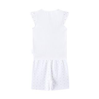 PurCotton 全棉时代 幼儿女款抽针罗纹套头短袖套装 (粉色波点、1套装)