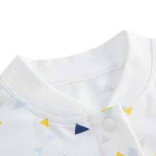 PurCotton 全棉时代 婴儿针织长袖连体服 (深蓝三角、66/44 建议3-6个月、1件/装)
