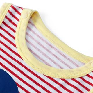PurCotton 全棉时代 婴儿针织假两件无袖连体衣 (红色条纹、 59/44 建议0-3个月、1条装)