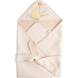 威尔贝鲁 新生儿彩棉包巾薄夹棉抱毯 (黄色、80*80cm)