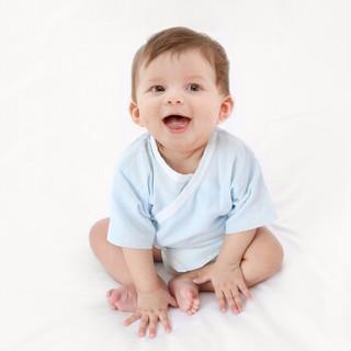 PurCotton 全棉时代 短款新生儿纱布衣服 (蓝色 白色、59/44、2条装)