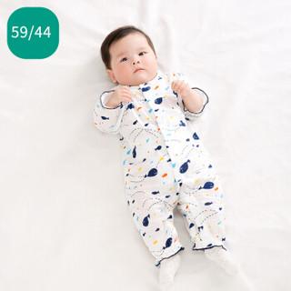 PurCotton 全棉时代 婴幼儿纱布哈衣 (鲸鱼、1件/袋 、59/44 建议0-3个月)