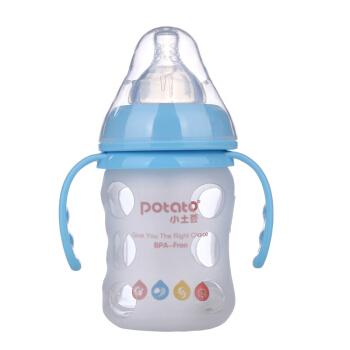 potato 小土豆 中圆孔(3-6个月) 宽口径吸管奶瓶 120ml 蓝色