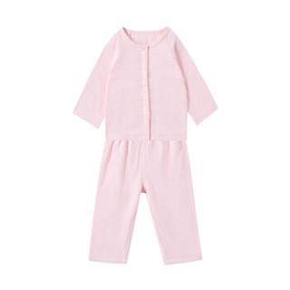 PurCotton 全棉时代 女宝宝前开长袖套装 (山茱萸粉、100/52、女、1条装)
