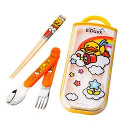 B.DUCK小黄鸭儿童餐具套装宝宝筷子勺子叉子便携式不锈钢勺叉套组 6203TM *2件