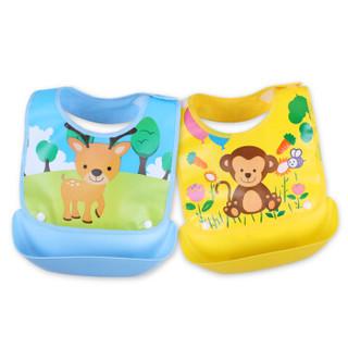 欧育 婴儿可拆卸防水围兜 (蓝+黄动物款、2件装)