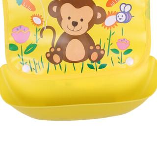 欧育 婴儿可拆卸围兜 (粉+黄动物款、2件装)