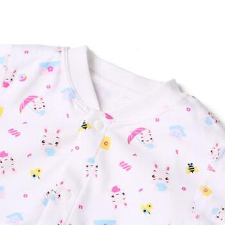 PurCotton 全棉时代 婴幼儿针织妙妙衣 (2条装、80/48、运动小兔+粉色条纹)