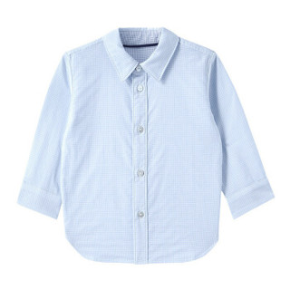 PurCotton 全棉时代 幼儿纱布格长袖衬衫 (1条装、80/48、男款、中蓝)