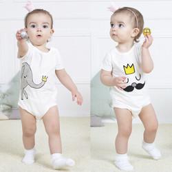 9i9久爱久婴儿衣服宝宝连体衣纯棉2件装短袖哈衣包屁衣爬服66cm0385 *2件