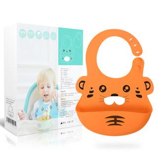 Babyruler CB6006 宝宝软硅胶围兜 (桔色)