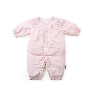 PurCotton 全棉时代 婴幼儿纱布夹涤棉哈衣 (蔷薇粉)