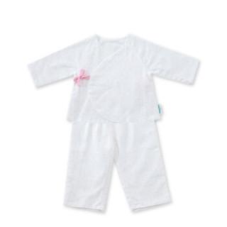 PurCotton 全棉时代 婴儿纱布无捻纱系带套装 (66/44、白底粉点)
