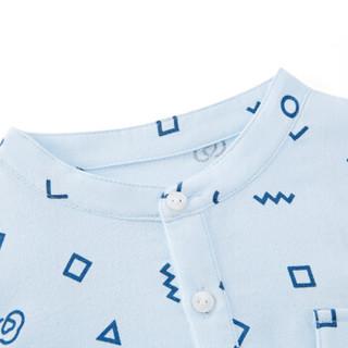 PurCotton 全棉时代 男童纱布短袖套头衬衫 (120/56、蓝底几何)