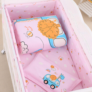 Elepbaby 象宝宝 婴儿床品8套件 (汽车达人粉)