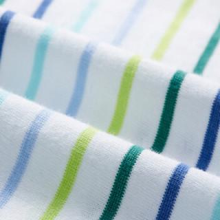 PurCotton 全棉时代 幼儿针织色织长袖T恤 (男款、100/52、 蓝绿彩条)