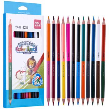 deli 得力 6595 纸盒双头彩色铅笔 *5件