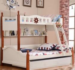 A家 家具 儿童床地中海上下床实木框架双层子母床高低小孩木床男孩女孩青少年(A款儿童床 1.2*1.9米)