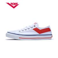 Pony女鞋新款情侣低帮帆布鞋Shooter经典款男鞋72U1SH43 (白红、39)