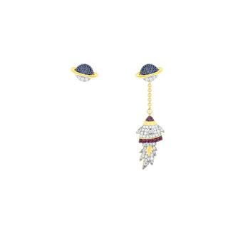 apm MONACO WONDERLAND系列 AE10555MY 彩色晶钻火箭不对称耳环 *2件