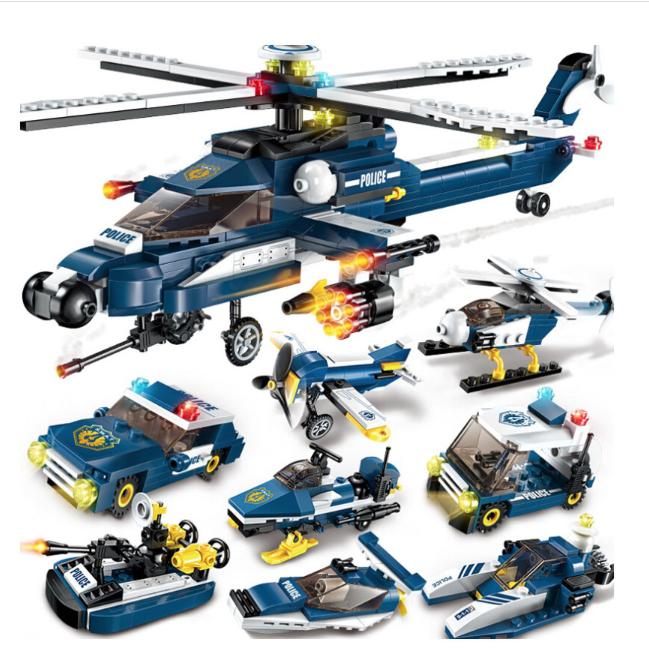 ENLIGHTEN 启蒙 军事系列 1801 风暴武装直升机8合1 小颗粒