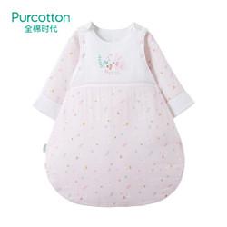 全棉时代 2018婴儿纱布夹薄涤侧开睡袋, 1件装 树叶小兔 90x58cm