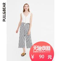 PULL&BEAR 09680201 女士阔腿七分裤 (深灰色、L)