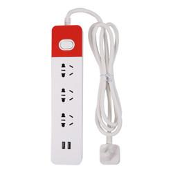 晨光(M&G)AEA98637 单排三组合孔双USB接口总控电源插座插排插线板拖线板1.8米 *4件