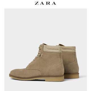 ZARA 15052302004 男士绒面皮生胶底短靴