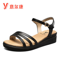 YEARCON 意尔康 8372ZL49201W 女士坡跟一字式扣带凉鞋