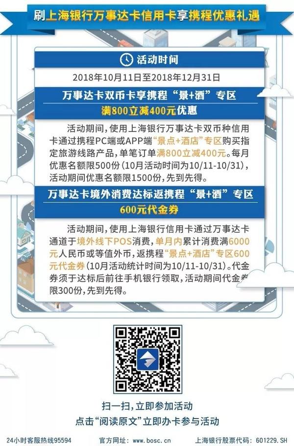 上海银行 VISA卡/万事达卡返现礼遇