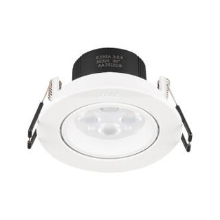 雷士照明(NVC)射灯 led射灯天花灯可调角度 4W(开孔75mm)白色灯面4000K暖白光