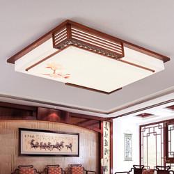雷士照明(NVC)led中式灯具客厅灯吸顶灯 现代中式仿古实木羊皮灯 长方形无极调光带遥控器70W