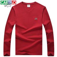 CARTELO 男士纯色V领长袖T恤