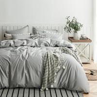 大朴(DAPU)套件 60支精梳纯棉缎纹四件套 纯色床单被套 银石灰 1.8米床 220*240cm