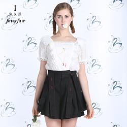 淑女屋 2018夏装新款方领芭蕾女孩刺绣短袖镂空衬衣