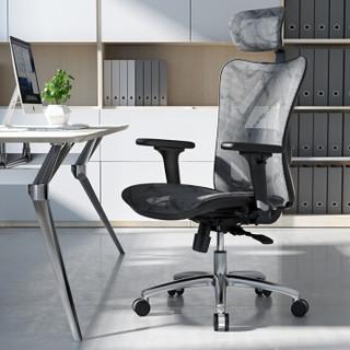 西昊/SIHOO 人体工学电脑椅子 办公椅 老板椅 柔韧透气电竞椅 家用座椅转椅 M57-002经典灰色