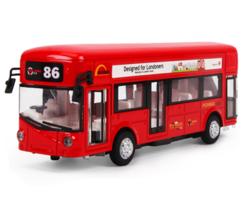 知识花园 伦敦单层巴士 合金回力车 红色(声光 双门可开)