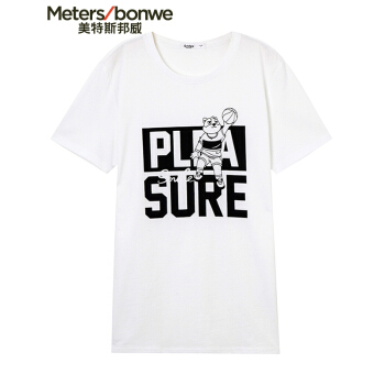 Meters bonwe 美特斯邦威 661348 男士卡通印花短袖T恤